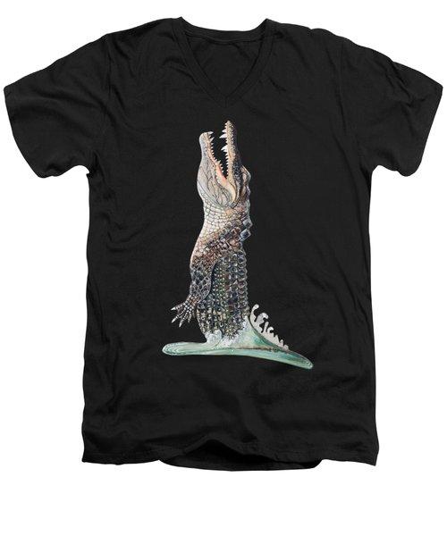 Jumping Gator Men's V-Neck T-Shirt by Jennifer Rogers