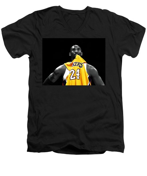 Kobe Bryant 04c Men's V-Neck T-Shirt by Brian Reaves