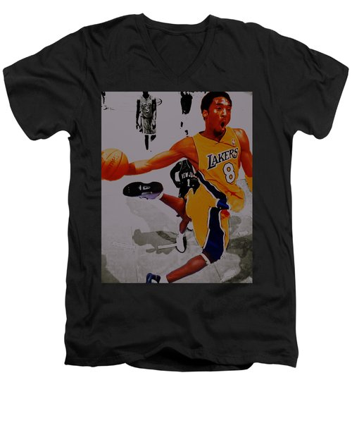 Kobe Bryant Taking Flight 3a Men's V-Neck T-Shirt by Brian Reaves