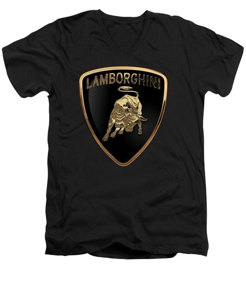 Lamborghini - 3d Badge On Black Men's V-Neck T-Shirt by Serge Averbukh