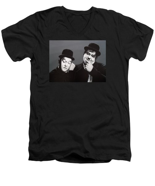 Laurel And Hardy Men's V-Neck T-Shirt by Paul Meijering
