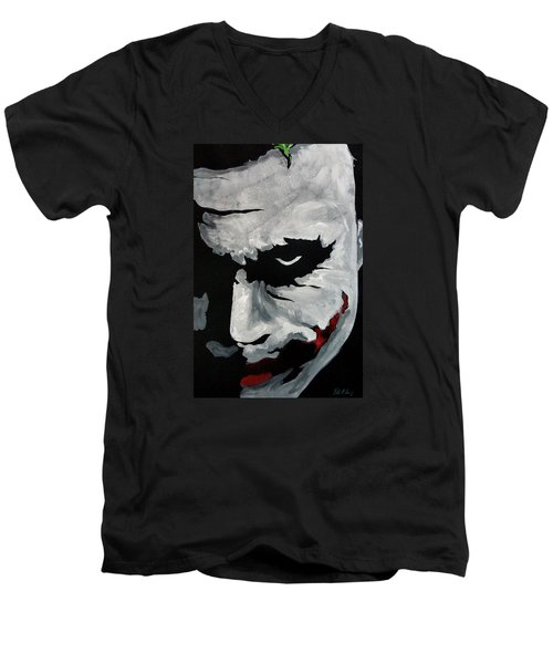 Ledger's Joker Men's V-Neck T-Shirt by Dale Loos Jr
