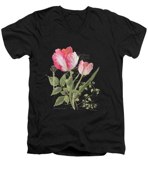 Les Fleurs Magnifiques En Noir - Parrot Tulips Vintage Style Men's V-Neck T-Shirt by Audrey Jeanne Roberts