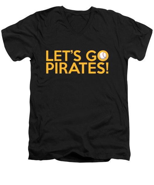 Let's Go Pirates Men's V-Neck T-Shirt by Florian Rodarte