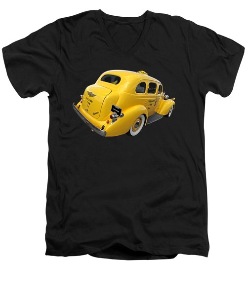 Let's Ride - Studebaker Yellow Cab Men's V-Neck T-Shirt by Gill Billington