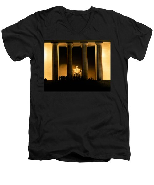 Lincoln Memorial Illuminated At Night Men's V-Neck T-Shirt by Panoramic Images