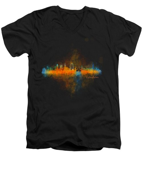 London City Skyline Uhq V4 Men's V-Neck T-Shirt by HQ Photo