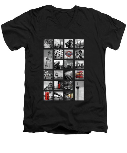 London Squares Men's V-Neck T-Shirt by Mark Rogan