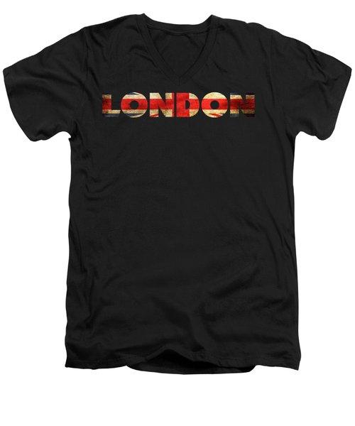 London Vintage British Flag Tee Men's V-Neck T-Shirt by Edward Fielding