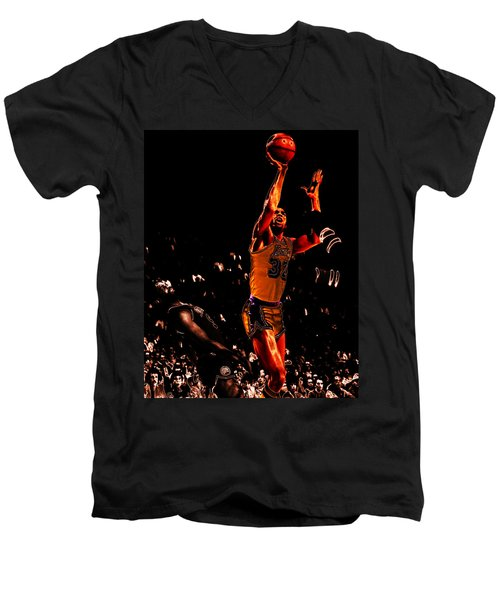 Magic Johnson Lean Back II Men's V-Neck T-Shirt by Brian Reaves