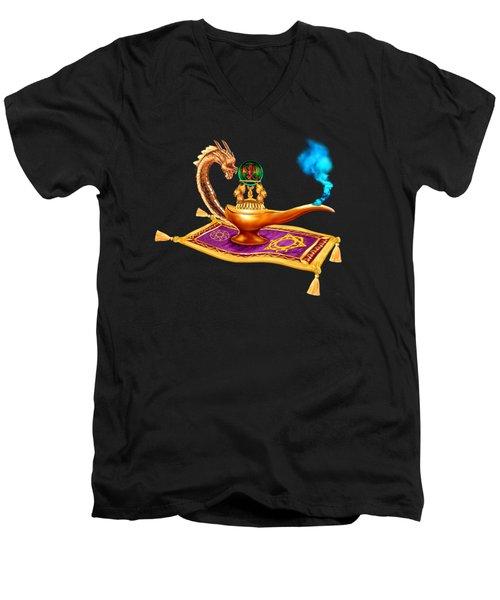 Magical Dragon Lamp Men's V-Neck T-Shirt by Glenn Holbrook