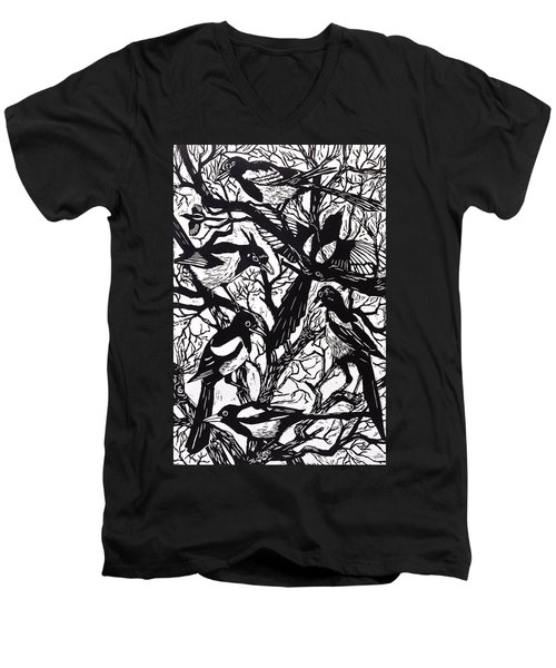Magpies Men's V-Neck T-Shirt by Nat Morley