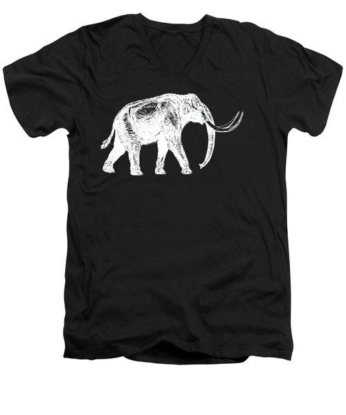 Mammoth White Ink Tee Men's V-Neck T-Shirt by Edward Fielding