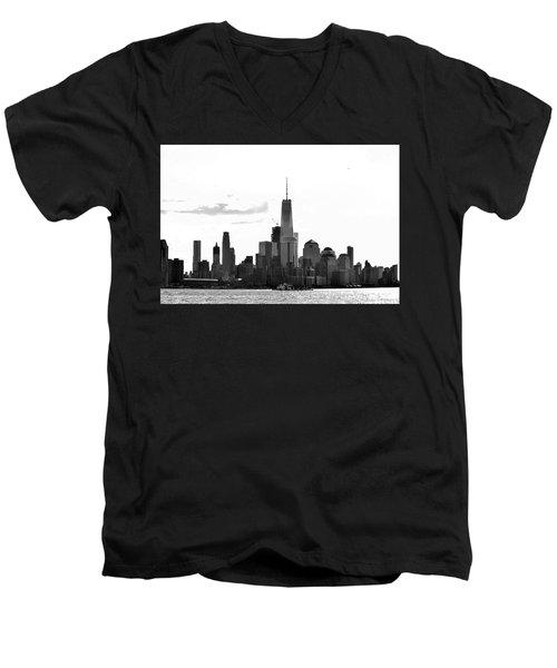Manhattan Skyline No. 17-2 Men's V-Neck T-Shirt by Sandy Taylor