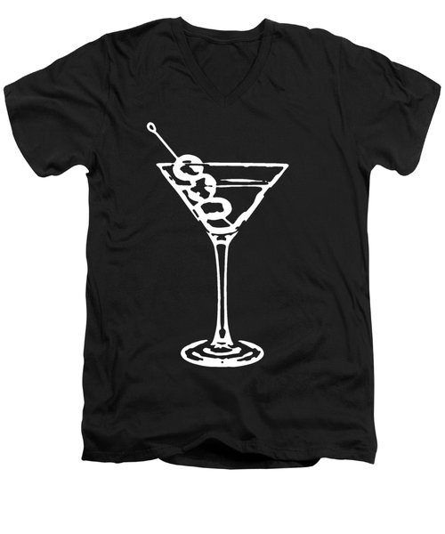 Martini Glass Tee White Men's V-Neck T-Shirt by Edward Fielding