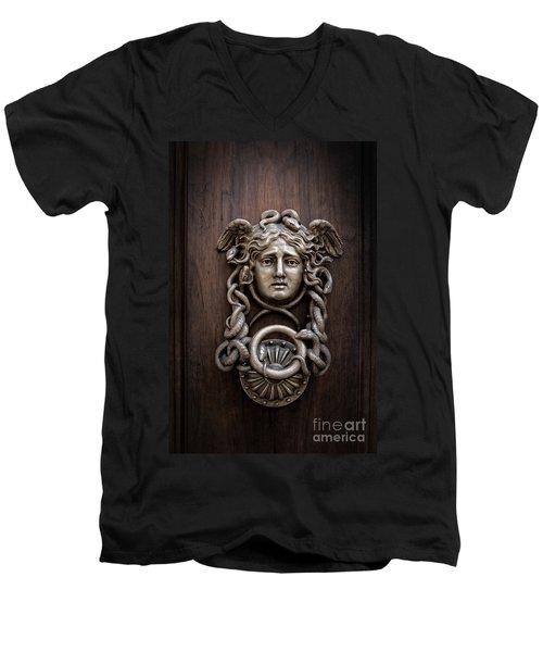 Medusa Head Door Knocker Men's V-Neck T-Shirt by Edward Fielding