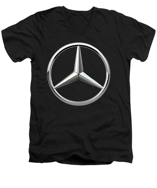 Mercedes-benz - 3d Badge On Black Men's V-Neck T-Shirt by Serge Averbukh