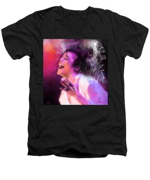 Michael Jackson 11 Men's V-Neck T-Shirt by Miki De Goodaboom