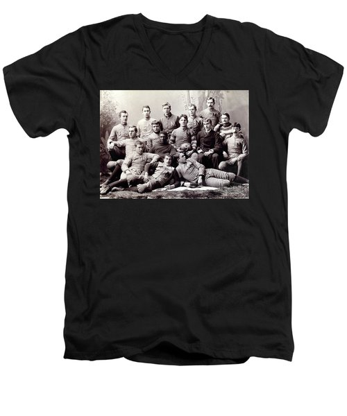 Michigan Wolverine Football Heritage 1890 Men's V-Neck T-Shirt by Daniel Hagerman