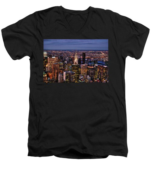 Midtown Skyline At Dusk Men's V-Neck T-Shirt by Randy Aveille