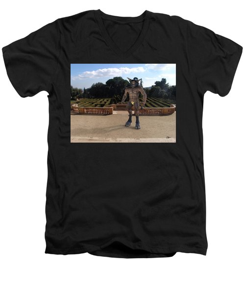 Minotaur In The Labyrinth Park Barcelona. Men's V-Neck T-Shirt by Joaquin Abella