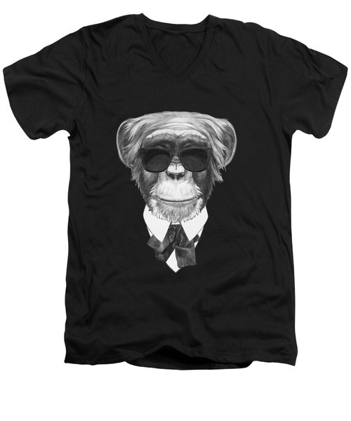 Monkey In Black Men's V-Neck T-Shirt by Marco Sousa