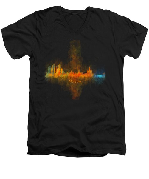 Moscow City Skyline Hq V4 Men's V-Neck T-Shirt by HQ Photo