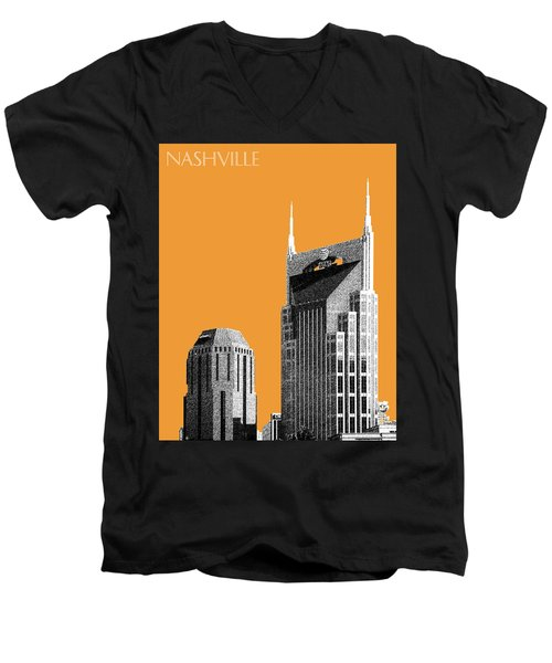 Nashville Skyline At And T Batman Building - Orange Men's V-Neck T-Shirt by DB Artist
