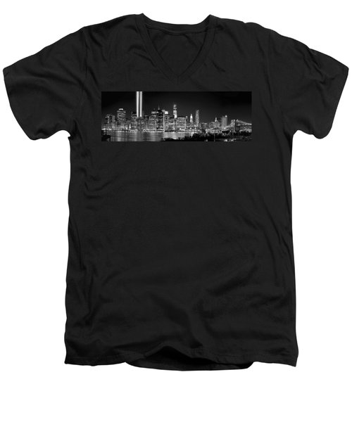 New York City Bw Tribute In Lights And Lower Manhattan At Night Black And White Nyc Men's V-Neck T-Shirt by Jon Holiday