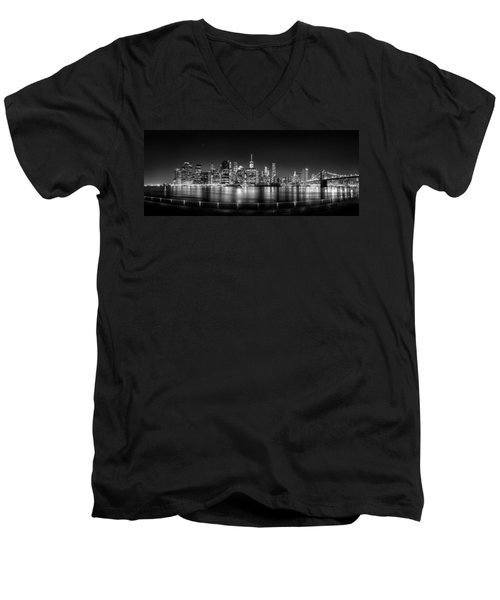 New York City Skyline Panorama At Night Bw Men's V-Neck T-Shirt by Az Jackson