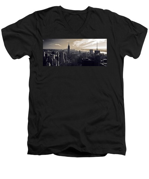 New York Men's V-Neck T-Shirt by Dave Bowman
