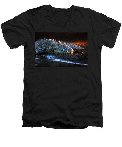 Nile Crocodile On Riverbank-1 Men's V-Neck T-Shirt by Johan Swanepoel