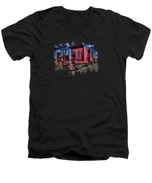 Old Red Caboose Men's V-Neck T-Shirt by Thom Zehrfeld