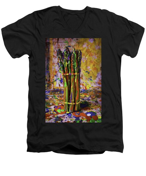 Painted Asparagus Men's V-Neck T-Shirt by Garry Gay