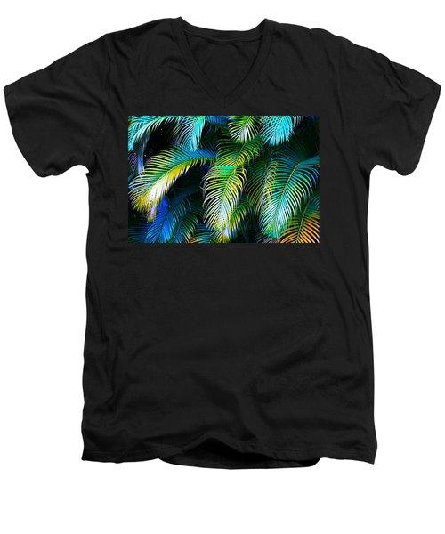 Palm Leaves In Blue Men's V-Neck T-Shirt by Karon Melillo DeVega
