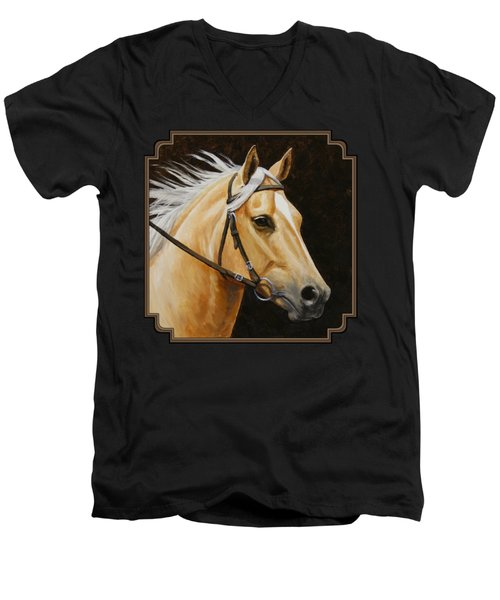 Palomino Horse Portrait Men's V-Neck T-Shirt by Crista Forest