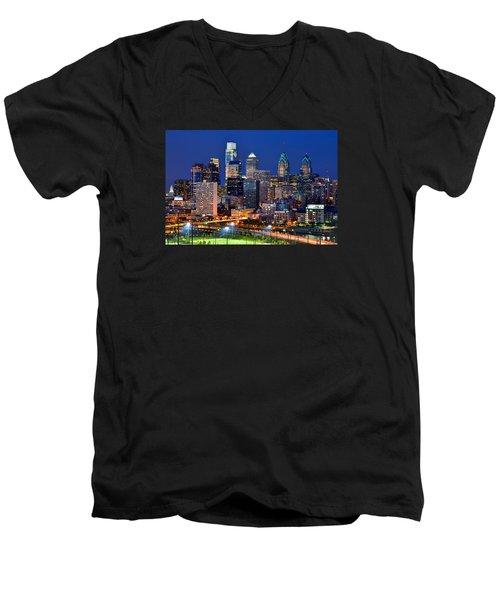 Philadelphia Skyline At Night Men's V-Neck T-Shirt by Jon Holiday