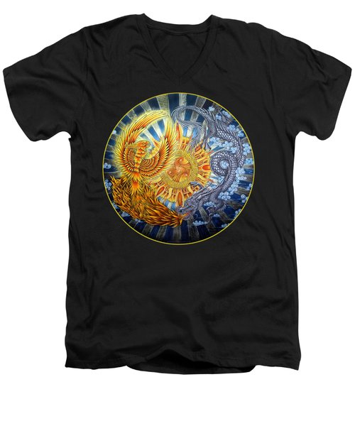 Phoenix And Dragon Men's V-Neck T-Shirt by Rebecca Wang