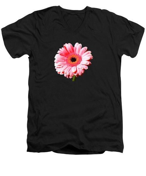 Pink Gerbera Men's V-Neck T-Shirt by Scott Carruthers