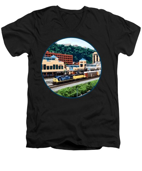 Pittsburgh Pa - Freight Train Going By Station Square Men's V-Neck T-Shirt by Susan Savad