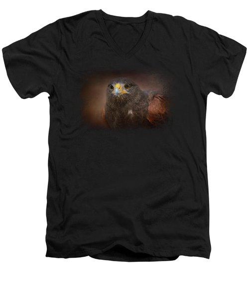 Portrait Of The Harris Hawk Men's V-Neck T-Shirt by Jai Johnson