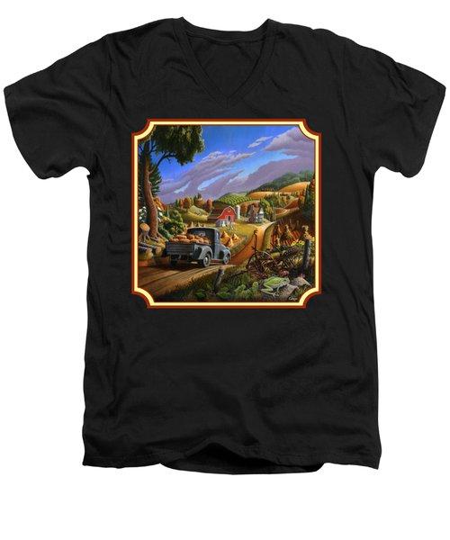 Pumpkins Farm Folk Art Fall Landscape - Square Format Men's V-Neck T-Shirt by Walt Curlee
