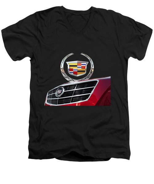 Red Cadillac C T S - Front Grill Ornament And 3d Badge On Black Men's V-Neck T-Shirt by Serge Averbukh