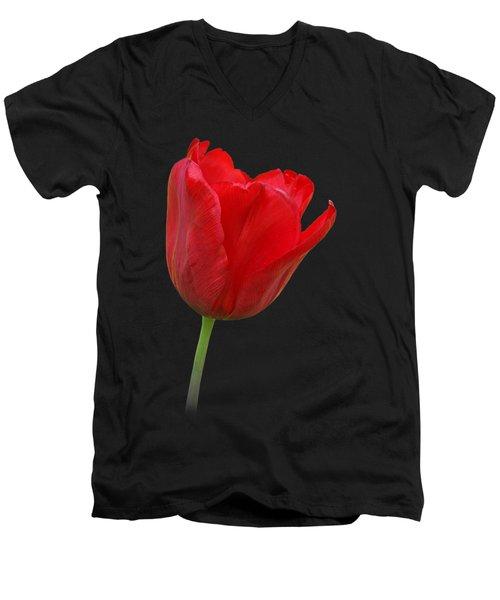 Red Tulip Open Men's V-Neck T-Shirt by Gill Billington