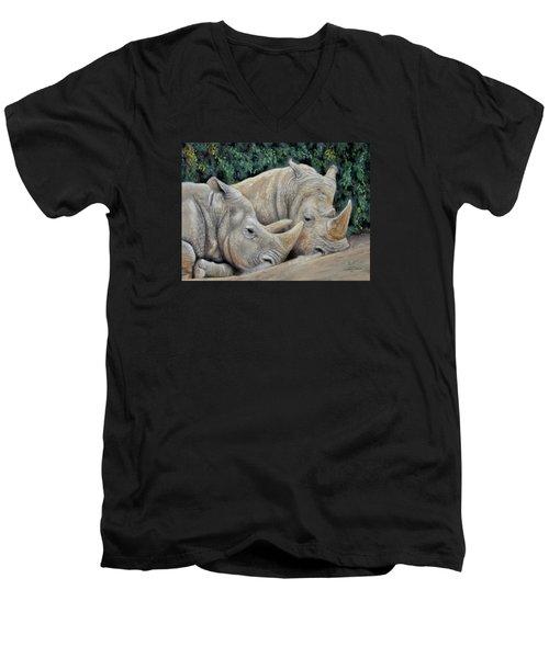 Rhinos Men's V-Neck T-Shirt by Sam Davis Johnson