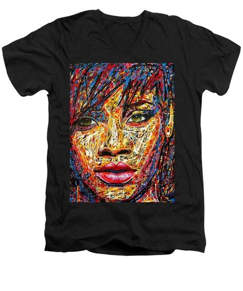 Rihanna Men's V-Neck T-Shirt by Angie Wright