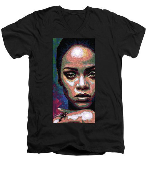 Rihanna Men's V-Neck T-Shirt by Maria Arango