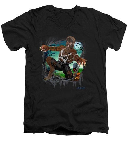 Rip Roaring Werewolf Men's V-Neck T-Shirt by Glenn Holbrook