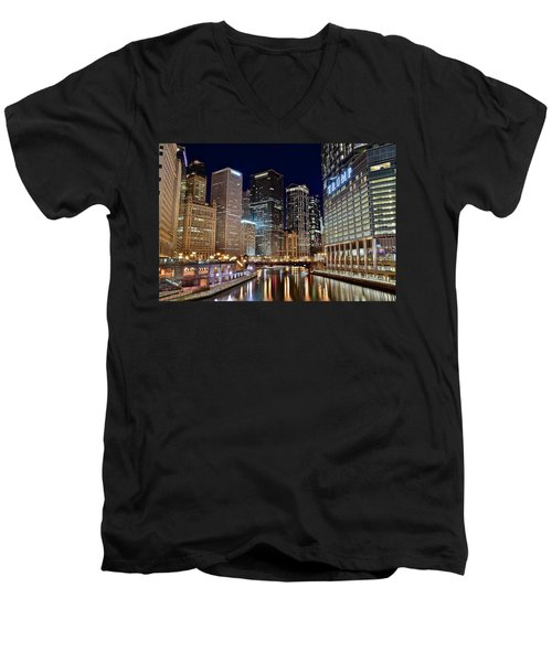 River View Of The Windy City Men's V-Neck T-Shirt by Frozen in Time Fine Art Photography