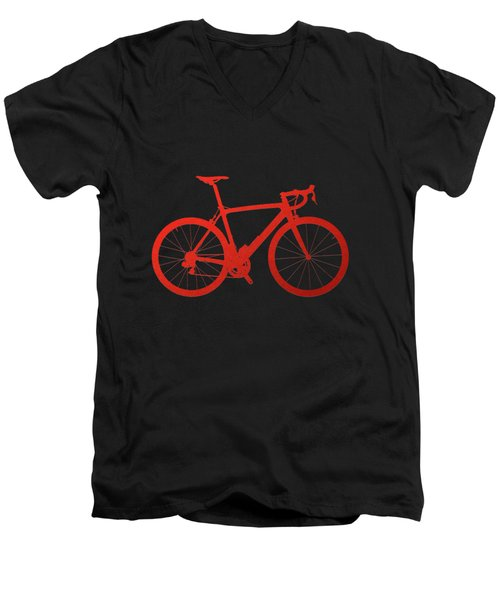 Road Bike Silhouette - Red On Black Canvas Men's V-Neck T-Shirt by Serge Averbukh